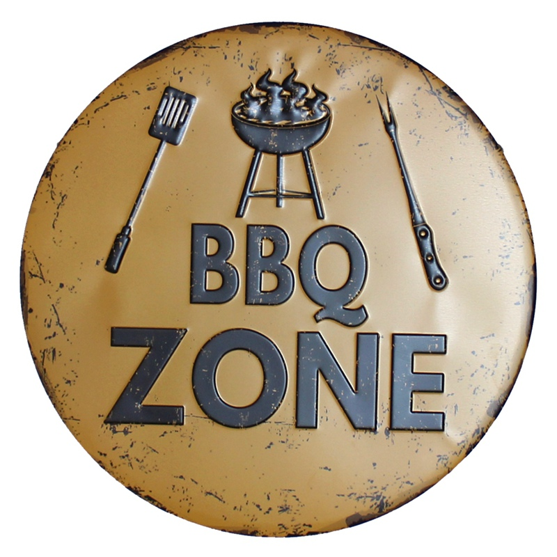 BBQ Zone Retro Plaque Metal Tin Signs Cafe Bar Pub Signboard Wall Decor Vintage Nostalgia Round Plates Christmas Gift 30CM R006