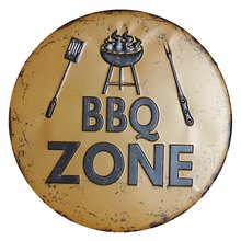 BBQ Zone Retro Plaque Metal Tin Signs Cafe Bar Pub Signboard Wall Decor Vintage Nostalgia Round Plates Christmas Gift 30CM R006(China)