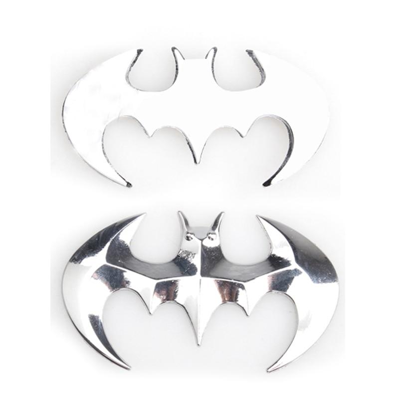 3D Stereo Silver Cool Metal Bat Car Sticker Decorative Motor Auto Badge Emblem Tail Decal Decoration Automobiles Accessories