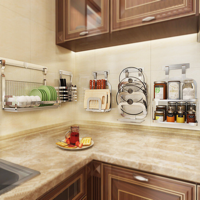 304 Aço Inoxidável Rack de Cozinha, Prateleira Da Cozinha, soco livre-Wall-mounted Titular Tempero Rack de Pratos De Armazenamento Organização