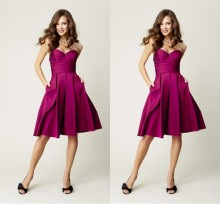 2014  Honorable Ruched A-Line Bridsmaid' s Gown Backless Adult Satin Knee-Length  Bridesmaid  Dress Vestido De Festa