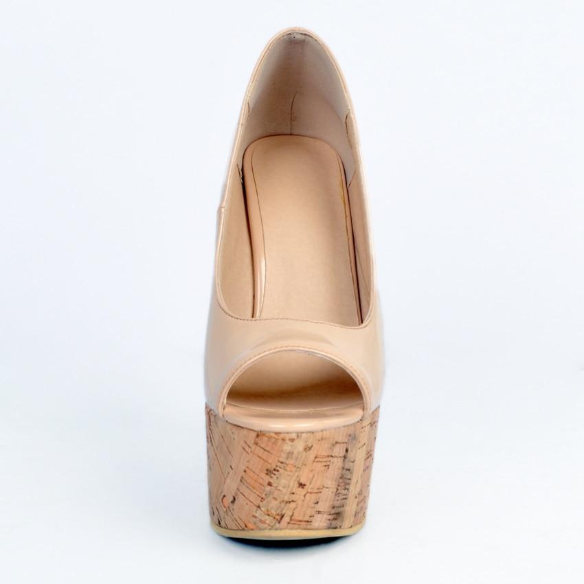 2019 г. Новинка, большие размеры 34 48, модная обувь телесного цвета на платформе и высоком каблуке 15 см, обувь на танкетке для девушек и женщин женские туфли лодочки, D1173 - 4