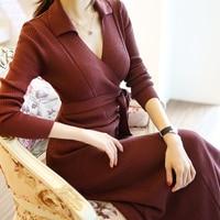 Autumn Sweater Dress 2017 New Women S Temperament OL Slim Sexy V Neck Knitting Dress With
