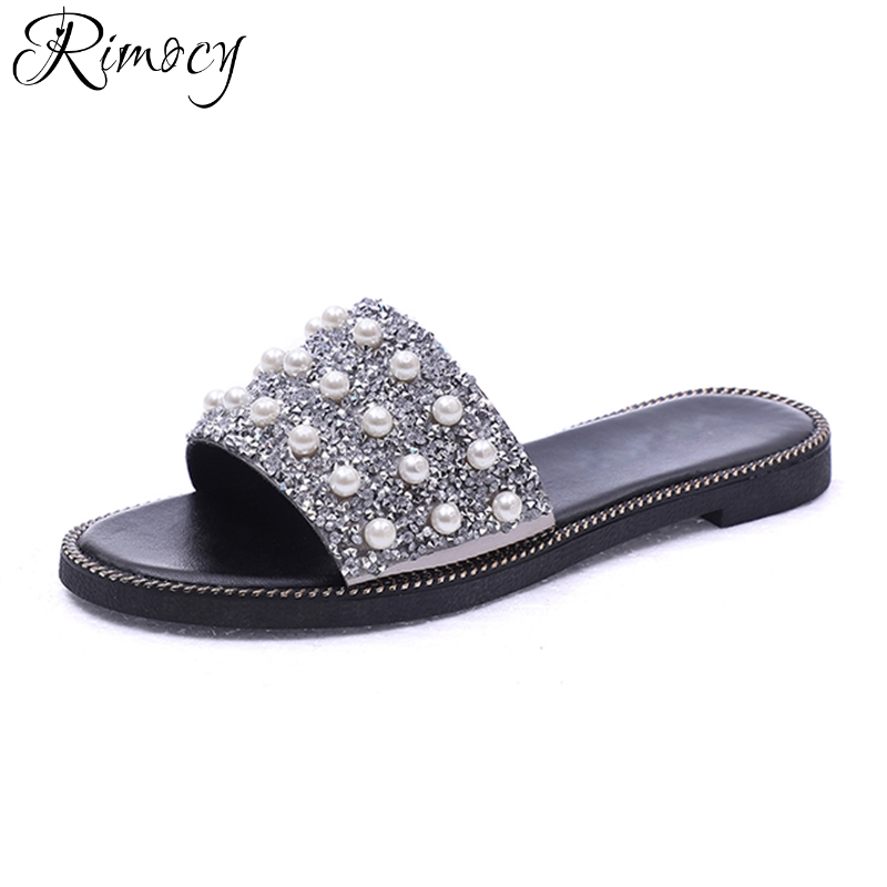 Rimocy silver glitter pearl slippers women summer flat heels beach casual slides woman open toe slip on sandals shoes mujer 2018 cresfimix women cute spring summer slip on flat shoes with pearl female casual street flats lady fashion pointed toe shoes