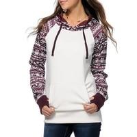 New Fashion Women Sweatshirt Geometric Sleeve Hoodie Tops Coat Lady Warm Pullover Jumper