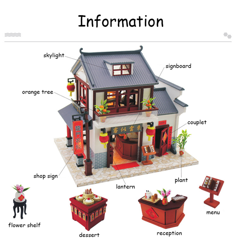 Doll House Chinese Style Hotel Miniature Dollhouse Assemble Kit Toys Wooden Retro Shop Furniture House Toys for Children New Year Christmas Gift (2)