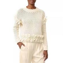 Fall 2017 fashion women chiffon appliques women winter sweaters and pullovers crocet women clothing