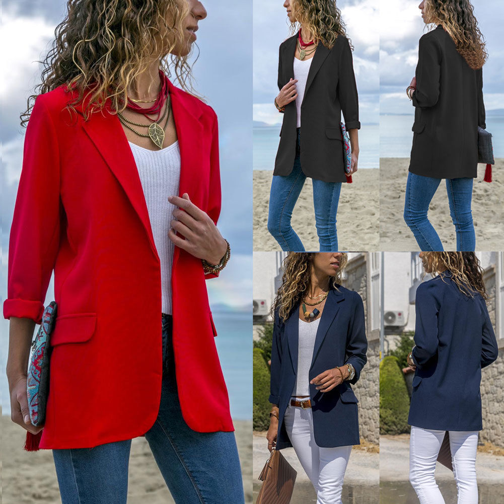 Stylish Women Cotton Blend Slim Business Blazers Work Wear Comfortable Suit Outwear New 2018 Autumn Spring