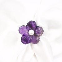 Natural Amethysts Carving Flower Shape With Freshwater Pearl 925 Sterling Silver Gold Plated Wedding Open