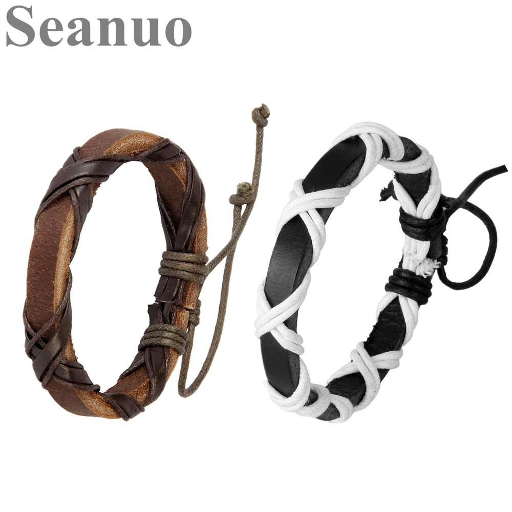 Seanuo 2019 Unisex Rope Lace-up Adjustable Charm Bangles & Bracelets For Men Women Fashion Punk Open Real Leather Cuff Bracelets