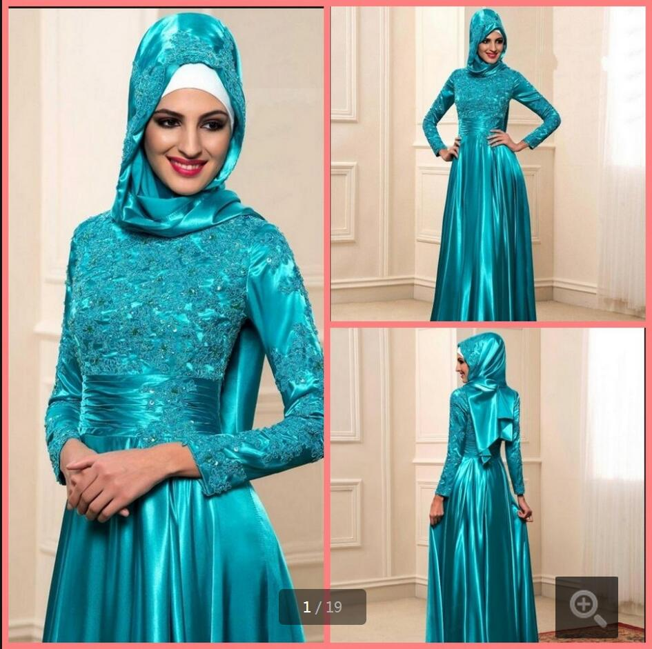 New Modest High Neck Lace Applique Formal Muslim Evening Dress Long Sleeve Vintage Beading Sequins Evening Gowns Hot Sale