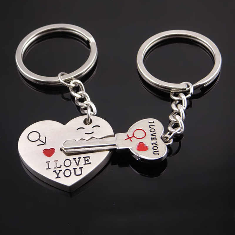 2019 Новое модное кольцо для ключей в форме сердца, серебряное кольцо для влюбленных, брелок для влюбленных, подарок на день Святого Валентина, 1 пара, брелок для ключей с надписью I Love You