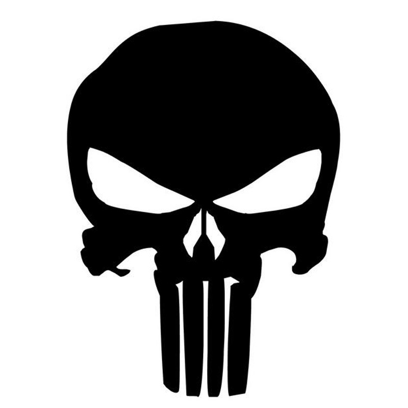 9.5*14CM PUNISHER Skull Film Classic Car Stickers Motorcycle Decals Car Accessories Black/Silver C2-0127 стоимость