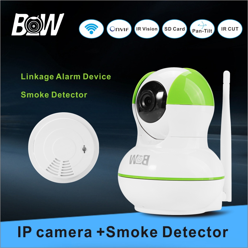 WiFi Camera Infrared +Smoke Detector Home Alarm System Night Vision Security IP Camera Burglar Video Surveillance BW-IPC012GR wireless smoke fire detector for wireless for touch keypad panel wifi gsm home security burglar voice alarm system