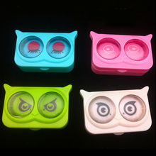 New cool cat contact lens case for eyes cute plastic contact lenses box cartoon color eyewear cases(China (Mainland))