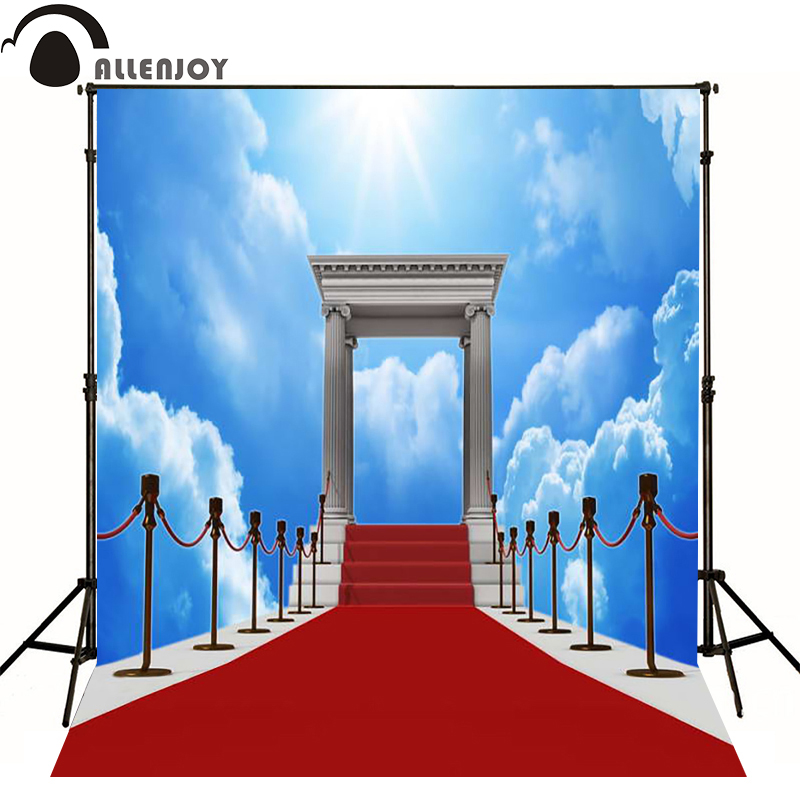 Allenjoy photographic background Sky clouds dazzling red carpet photography fantasy send rolled high quality fotografie send rolled sunny sky backdrop vintage white cloud blue sky printed fabric photography background f0150