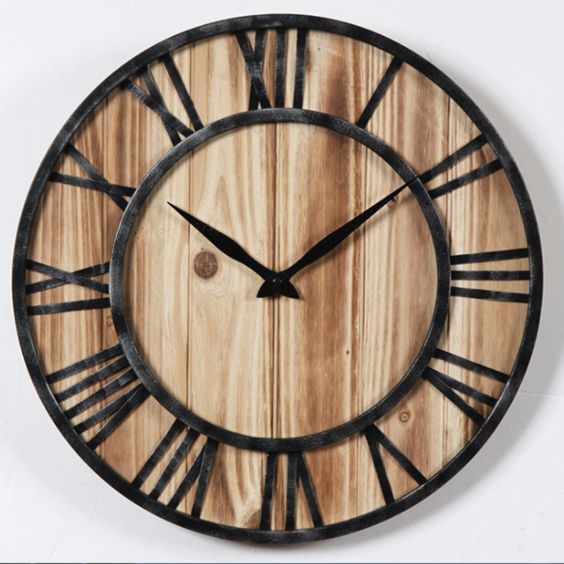 Nordic Creative Wrought Iron Retro Wall Clock Modern Home Fashion Simple Living Room Mute Clock Decoration Clock On The Wall
