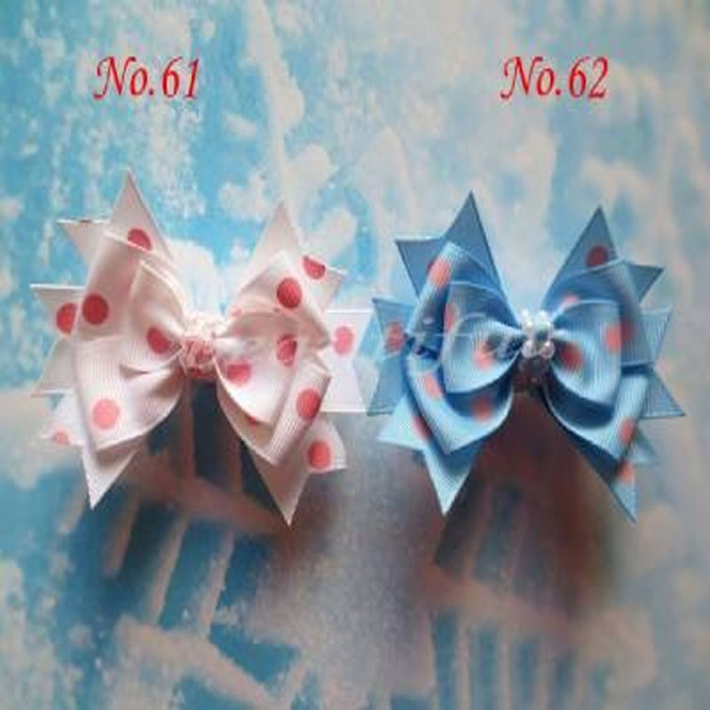 "50 BLESSING Good Girl 3 Layer Boutique 4.5/""  Hair Bow Gingham Clip 49 No."