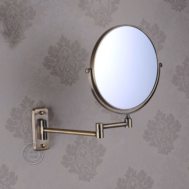 8 Double Side Bathroom Folding Brass Shave Makeup Mirror Antique Wall Mounted Extend With Arm Round Base 3x Magnifying 1208F brass wall mounted ribbon lamp 8 5 round double side cosmetic mirror silver 220v