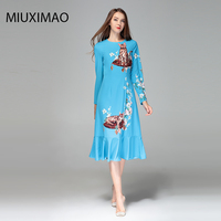 2018 High Quality Spring&Fall Newest Cute Style Dress Long Sleeve V neck Elegant Trumpet Fishtail Cat Print Long Dress Women