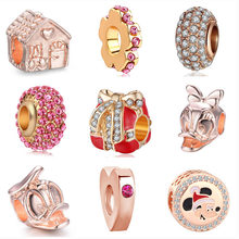 2019 new 1pc free shipping rose pink gold house mickey gift diy bead Fit Pandora Charm Bracelet for women F061(China)