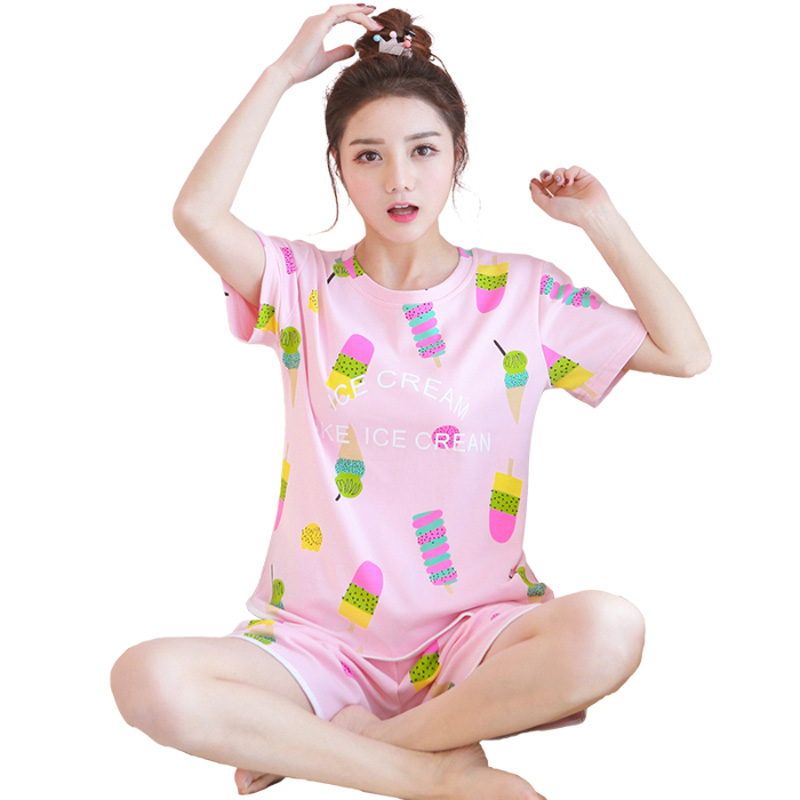 summer women Comfortable   Pajamas     Set   long Sleeve Nightgown Cartoon printing Cute Sleepwear suit Girl short pants Pijama Mujer