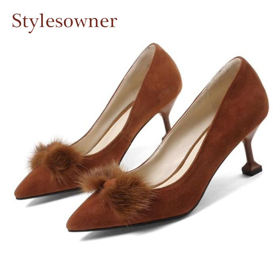 Stylesowner fur embellish bowtie shallow women pumps pointed toe thin high heel suede leather ladies dress shoes high heels women suede pumps high heels women pumps sexy high heels shoes women pointed toe thin heel ladies wedding shoes b242