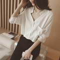 2017 spring summer style fashion wild women blouses female Korean solid color v-neck long-sleeved chiffon shirt chemise femme
