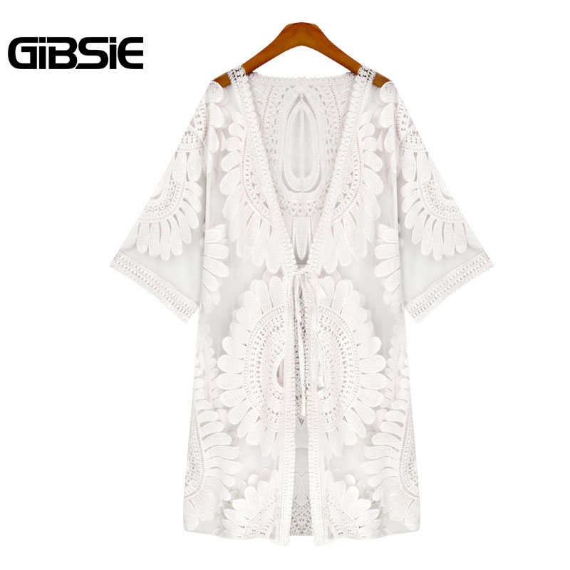 GIBSIE Plus Size Women Clothing Flower Lace See Through Cardigan Blouse Sexy Top 2017 Summer Women Beach Cover Up Long Kimono