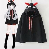 Japanese Harajuku Cute Devil Ears Hooded Black Sweatshirt Preppy Style Back Demon Pattern Hoodie Tops Cool Girl Autumn