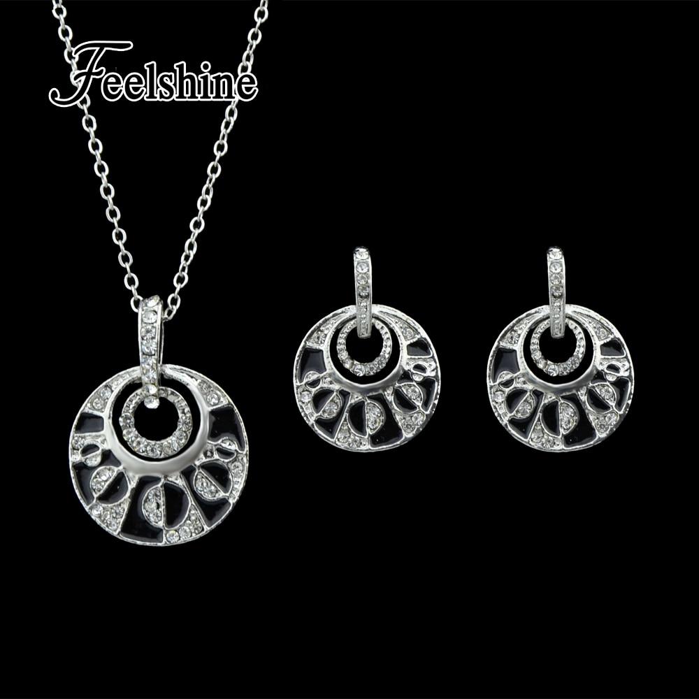 5cf22423ebf5 Conjuntos de joyas de lujo para bodas Cadena de color de plata antigua con  esmalte negro Rhinestone colgante redondo collar y pendientes