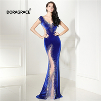 Doragrace robe de soiree Sexy Deep V Neck Backless Mermaid Crystal Beaded Prom Gowns Velvet Royal Blue Evening Dresses
