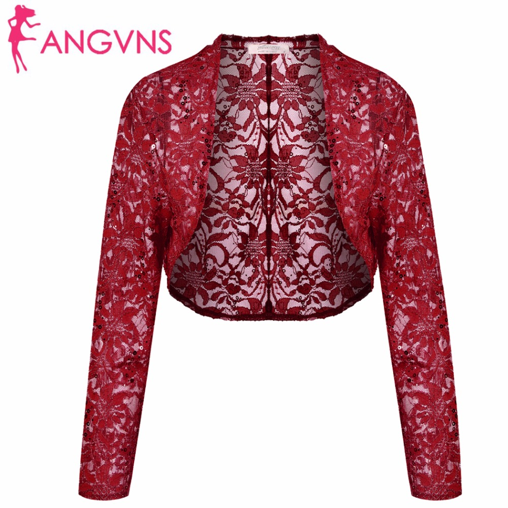 ANGVNS Women Lace Cardigan Sweater Autumn 3/4 Sleeve Sequined Crop Knit Bolero Shrug Cardigan Open Stitch Short Shawl Wrap Coat