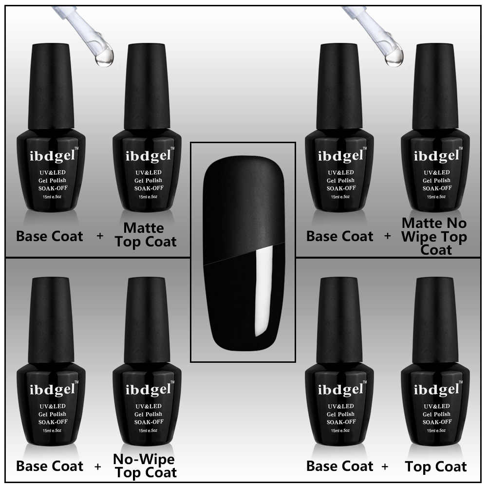 IBDGEL Brand UV Matte Base and Top Salon Professional Nail Tools Soak Off  15ml Set Kit Soak Off Gel Nails Black Bottle Product