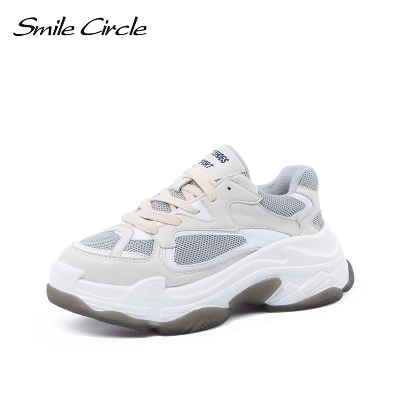 Smile Circle chunky Sneakers Women 2018 Autumn Comfortable breathable Flat platform Shoes Thick bottom ladies casual shoes smile circle spring autumn women shoes casual sneakers for women fashion lace up flat platform shoes thick bottom sneakers