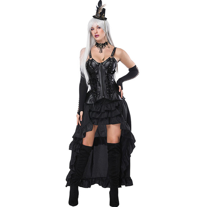 Lady Vintage Steampunk Vinyl Corset Dress Retro Gothic Corset Punk Binder Burlesque Corset And Bustiers Long Irregular Skirt Set