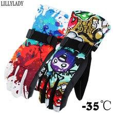 Winter -35 Tactical Gloves Women Men Thicken Children Windproof Waterproof Adjustable Climbing Snow