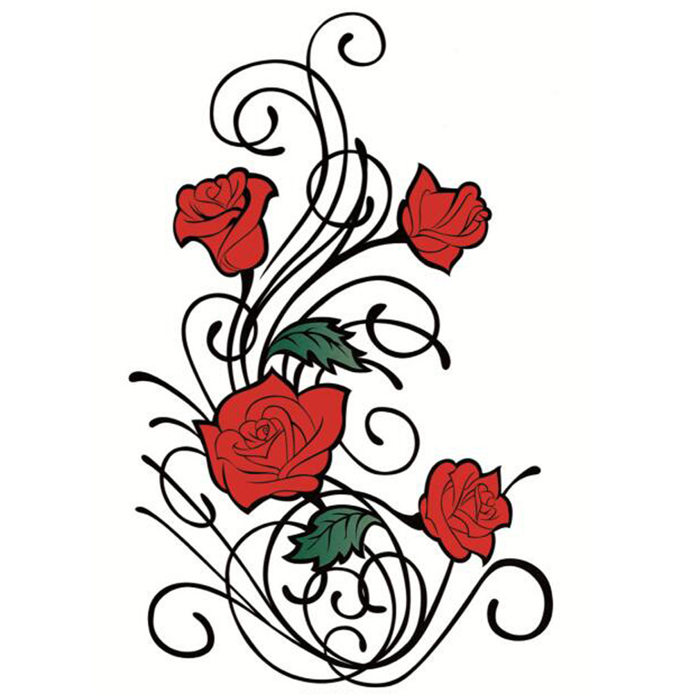 Yeeech Temporary Tattoos Sticker for Women Fake Rose Red Vine Black Sexy Design Arm Leg Back Long Lasting Real Looking Body Art