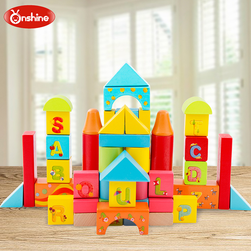 Onshine 50pcs Colorful English Letter geometric shapes congnition wooden building blocks Children's birthday and Christmas gift sizzix eclips cartridge 12 days of christmas shapes