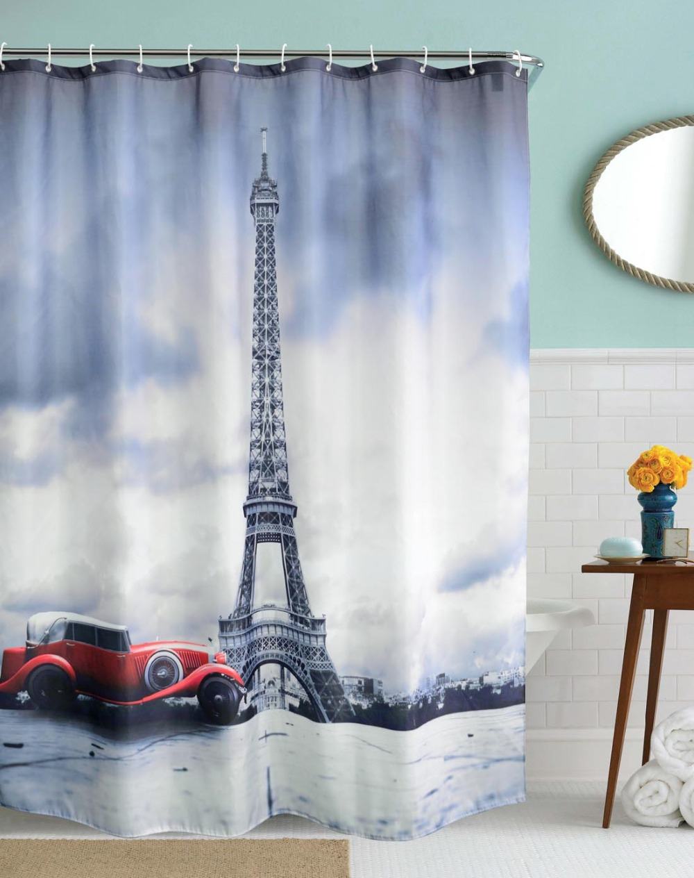 Dark knight shower curtain - 3d Famous City Landmark Vintage Car Eiffel Tower Waterproof Shower Curtains Polyester Fabric Curtains For Bathroom