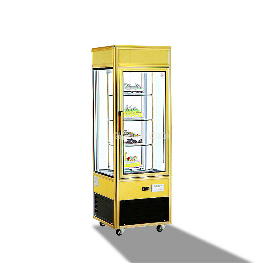 CL428FLC4 530W 365L 4-Layer Supermarket Fruit Vegetable Cake Display Freezer Transparent Cake Showcase Commercial Refrigerator