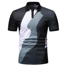Polo Shirt Men Splicing design Casual Blouse Short sleeve Summer Tops Mens Clothing Black Blue