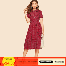 Sheinside Burgundy Ruffle Trim Heart Print Belted Shirt Dress Vintage Ladies Summer Dresses 2019 Peter Pan Collar Women Dress
