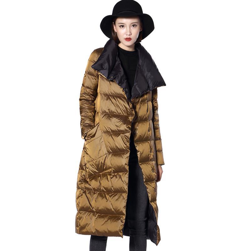 Fitaylor  Women Double Sided Down Long Jacket Winter Turtleneck White Duck Down Coat Double Breasted Warm Parkas Snow Outwear 4