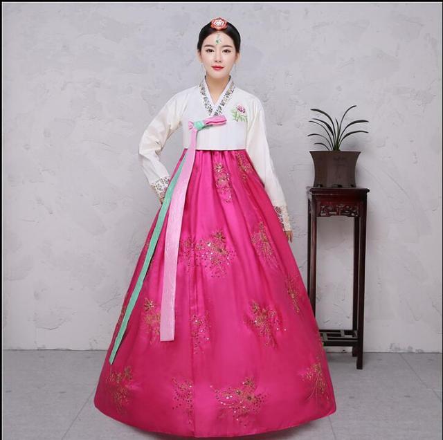 631a52419 4 Colors Sequins Korean traditional costume Women Elegant Hanbok Korean  Dress