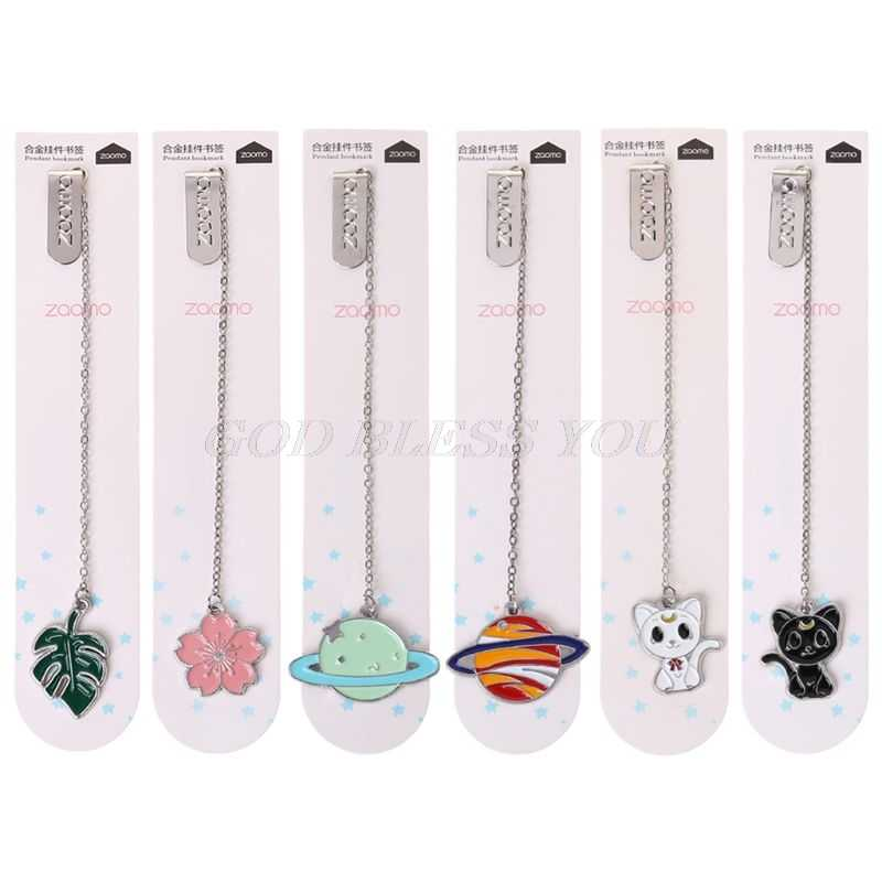 Cat Sakura Chain Marker Bookmark Page Clip School Supplies Stationery Student Gifts Office Book Marker Stationery