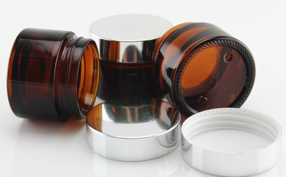 Top quality Glass 2 oz Amber Salve Jar w Silver Lid 6pkin Storage