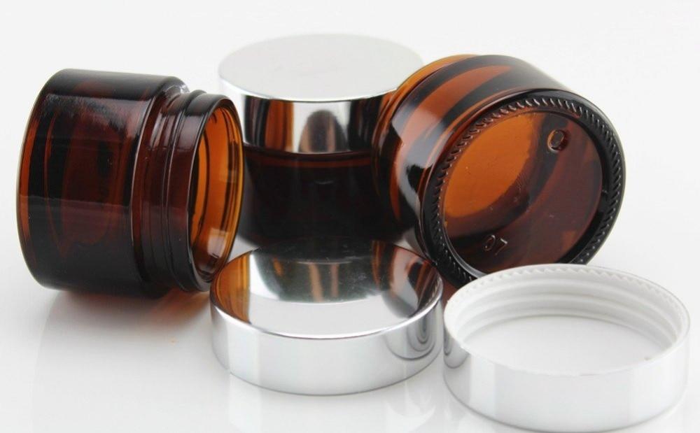 Top quality Glass 2 oz Amber Salve Jar w Silver Lid 6pkin Storage