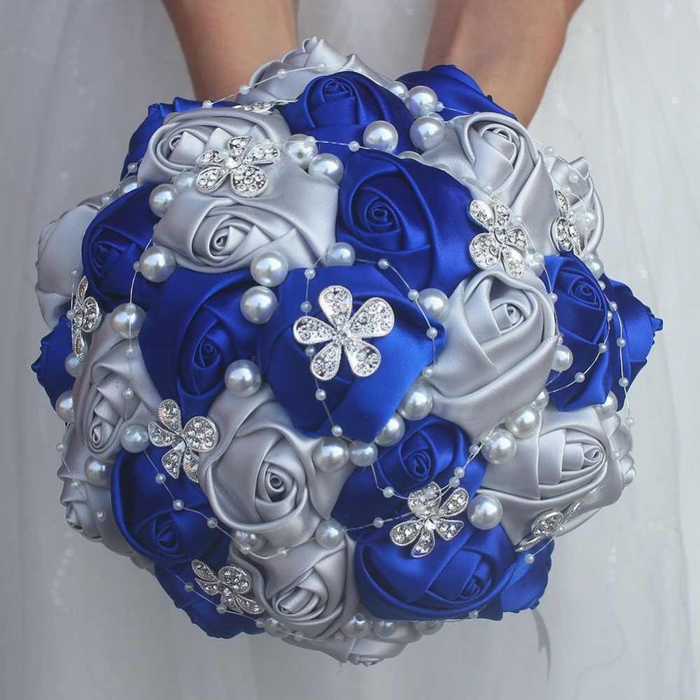 Royal Blue Silver bouquet Rose Bridesmaid Wedding Foam flowers Rose Bridal bouquet Ribbon Fake Wedding bouquet Customized w224