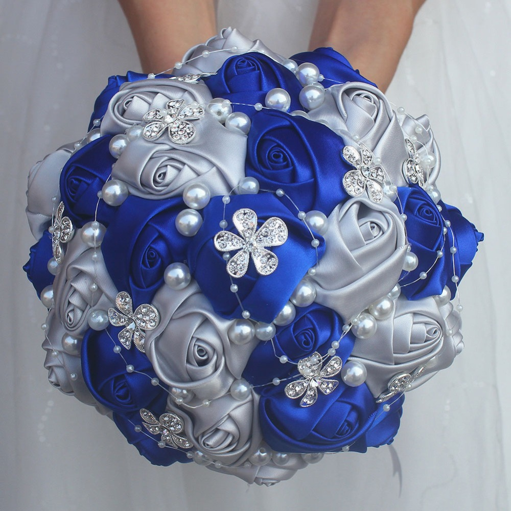 Royal Blue Silver Bouquet Rose Bridesmaid Wedding Foam
